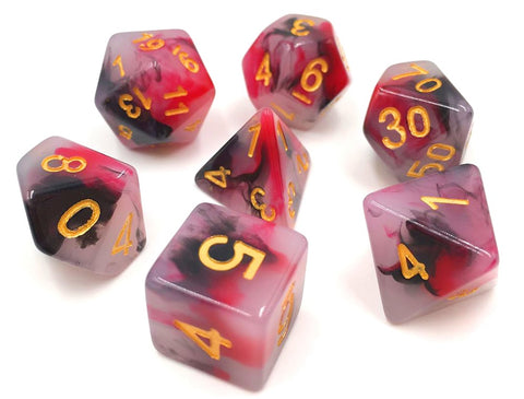 Black & Red Jade Dice Set