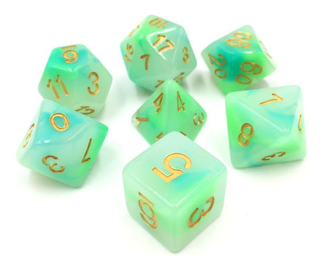 Blue-Green Jade Dice Set