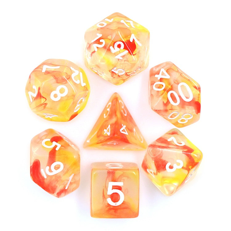 Orange/Red Pearl Swirl Dice Set