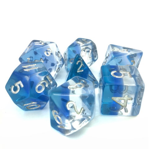 Transparent Blue Gradient Dice Set