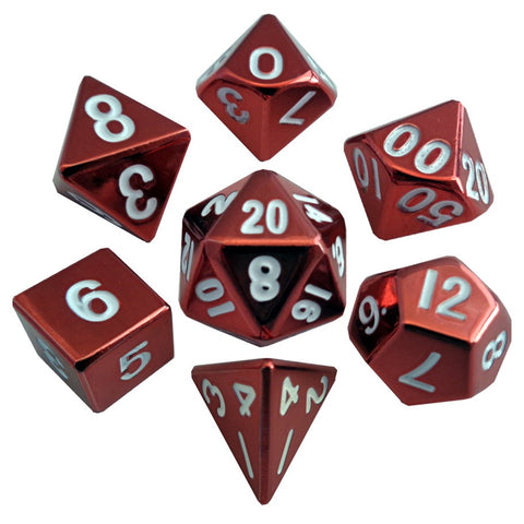 Metallic Dice Games - 7 Dice Set: 16mm: Red Painted Metal