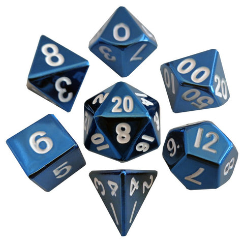 Metallic Dice Games - 7 Dice Set: 16mm: Blue Painted Metal