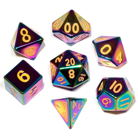 Metallic Dice Games - 7 Dice Set: 16mm Flame Torched Rainbow Metal