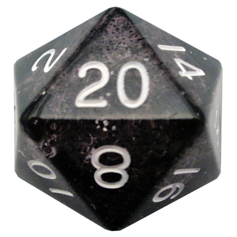 Mega D20: 35mm Ethereal Black with White