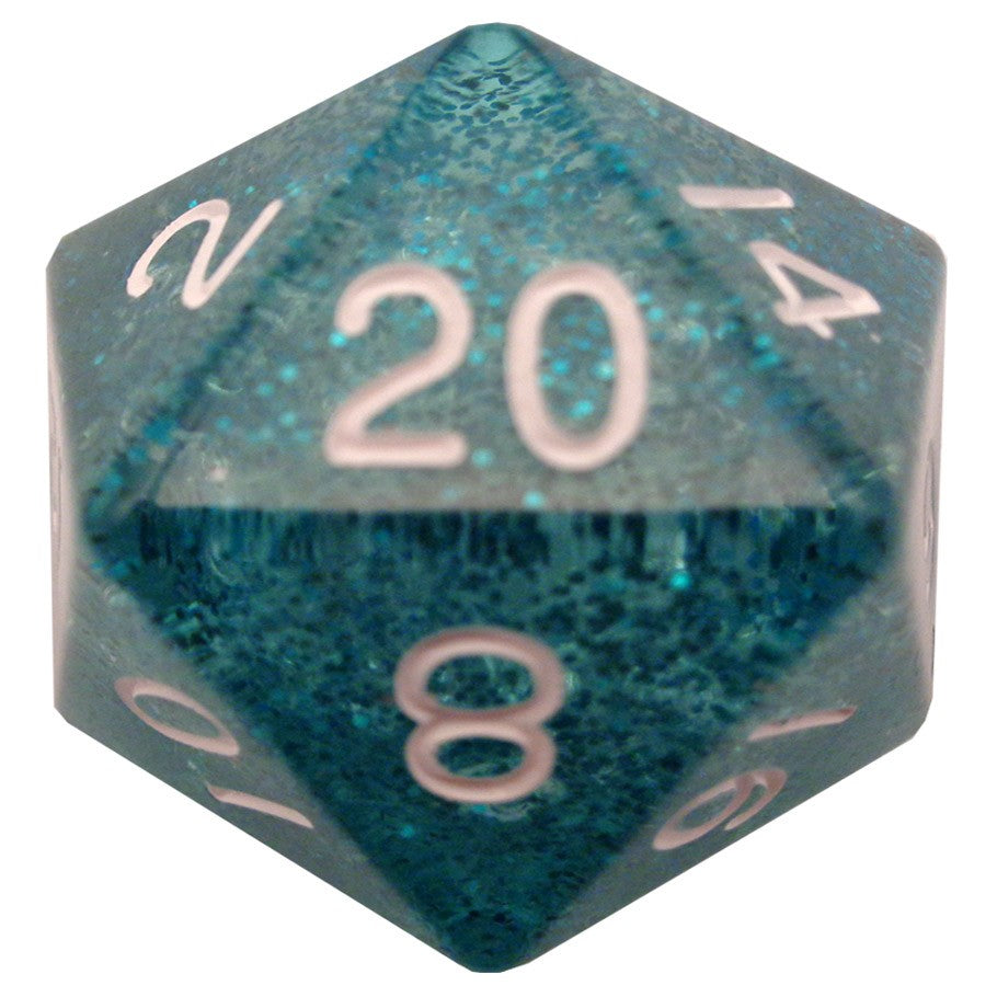 Mega d20: 35mm Ethereal Dice, Blue with White