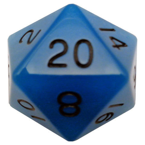 Mega D20: 35mm Glow-in-the-dark Blue with Black Numbers