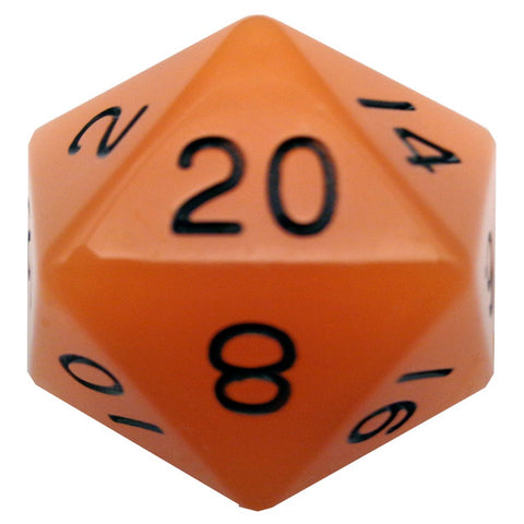 Mega D20: 35mm Glow-in-the-dark Orange with Black Numbers