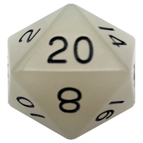 Mega D20: 35mm Glow-in-the-dark Clear with Black Numbers