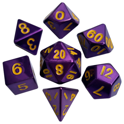 Metallic Dice Games - 7 Dice Set: 16mm Polyhedral Purple with Gold Numbers