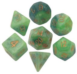 Resin Dice: 16mm Green/Light Green with Gold Numbers Combo Attack Dice Set