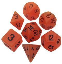 Resin Dice: 16mm Orange Glow in the Dark Dice Set