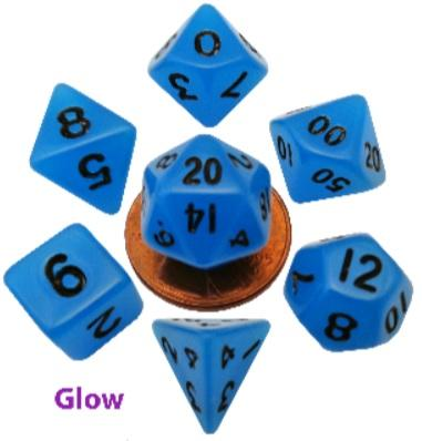 Mini Polyhedral Dice Set: Glow Blue w/Black Numbers (7)
