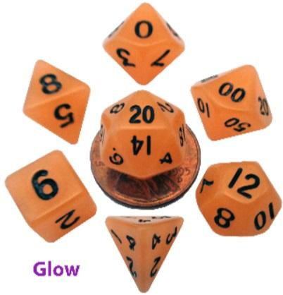 Mini Polyhedral Dice Set: Glow Orange w/Black Numbers (7)