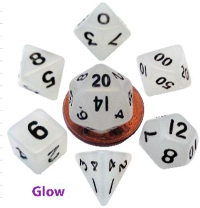 Mini Polyhedral Dice Set: Glow Clear w/Black Numbers (7)