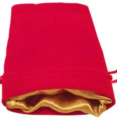 Dice Bag: 4x6: Red Velvet with Gold Satin Lining