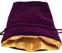 Dice Bag: 4x6: Purple Velvet with Gold Satin Lining