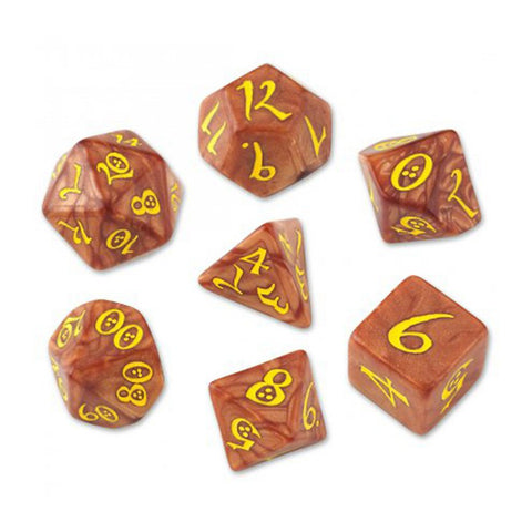 Classic RPG Dice, Set of 7 - Caramel & Yellow