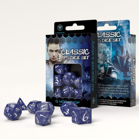 Classic RPG Dice, Set of 7 - Cobalt & White