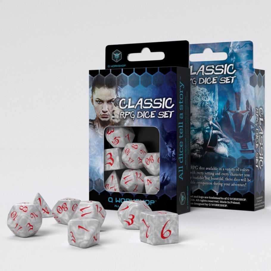 Classic RPG Dice, Set of 7 - Pearl & Red