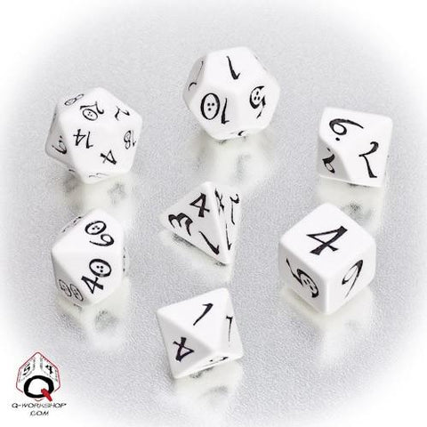 Classic RPG Dice, Set of 7 - White & Black