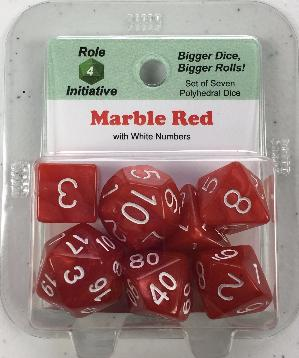 Polyhedral Dice Set: Marble Red with White Numbers (7)