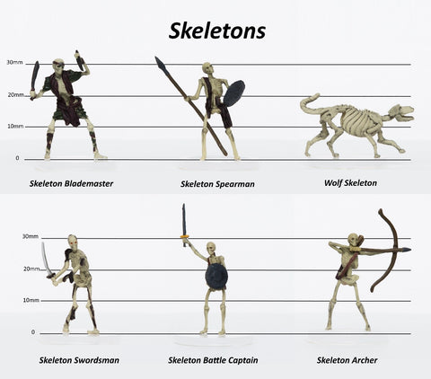28mm Fantasy: Characters of Adventure - Set of 6 Skeletons