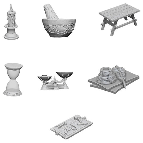 WizKids Deep Cuts Unpainted Miniatures: Workbench & Tools
