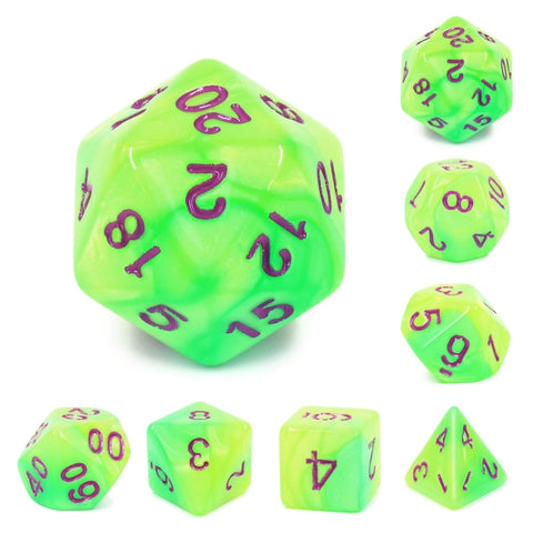 Green/Yellow Blend Color Dice with Purple Font