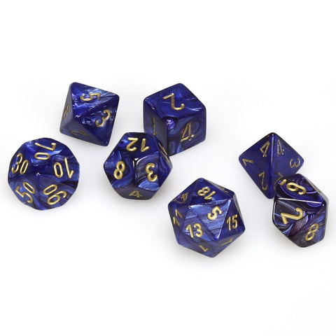 7-set Cube - Scarab Royal Blue with  Gold