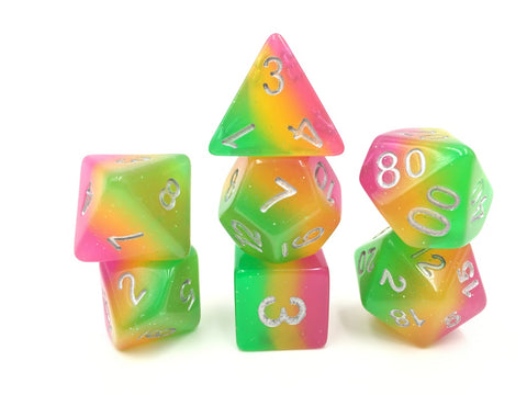 Rose Red/Yellow/Green Gradient Dice Set