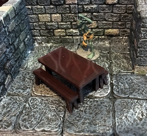 28mm Scale Role-Playing Game Miniature Tavern Table and Benches