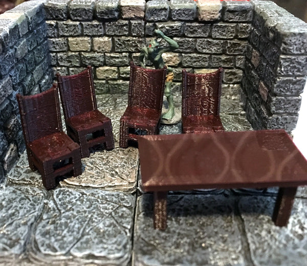 28mm Scale Role-Playing Game Miniature Tavern Table and Chairs
