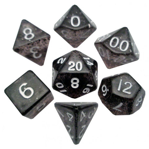 7-set: 16mm: Ethereal Black with White Numbers