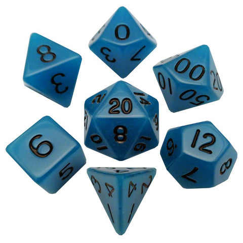 16mm 7-Dice Set: Glow-in-the-dark Blue with Black Numbers