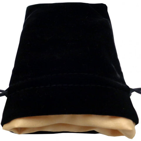 Dice Bag: 4x6: Black Velvet with Gold Satin