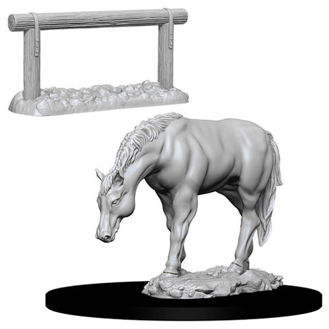 WizKids Deep Cuts Unpainted Miniatures: Horse & Hitch