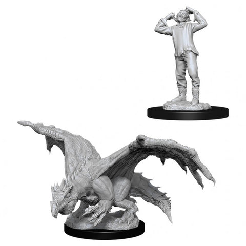 Dungeons & Dragons: Nolzur's Marvelous Unpainted Miniatures: Green Dragon Wyrm & Afflicted Elf
