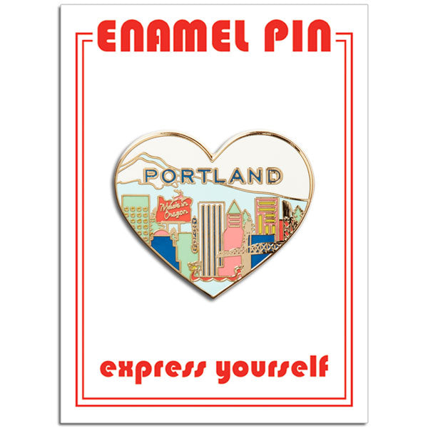Portland Skyline Heart Pin