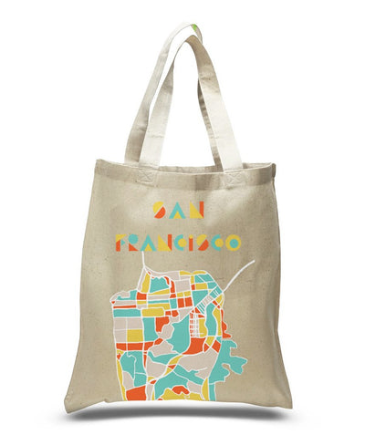 San Francisco Map Tote Bags