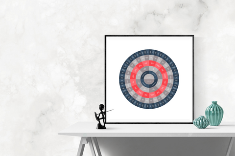 red grey and blue circle family tree template