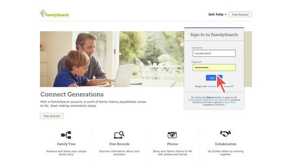 log in to FamilySearch