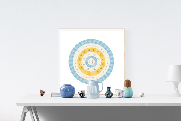 Customizable calming blue and yellow circle genealogy family tree chart for your home--ready in minutes!