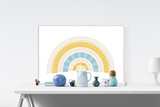 Customizable calming blue and yellow fan genealogy family tree chart for your home--ready in minutes!