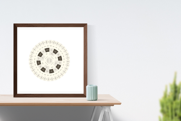 Customizable various shades of brown and cream (reminiscient of a banana split!) circle genealogy family tree chart for your home--ready in minutes!