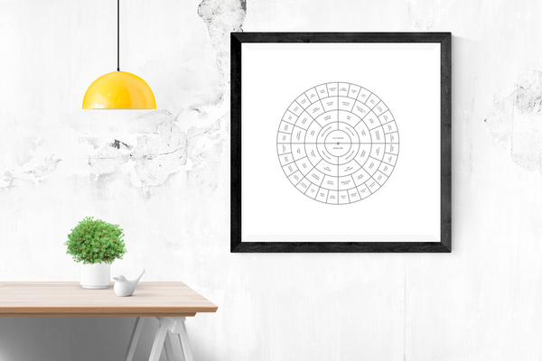 Customizable classic white circle genealogy family tree chart for your home--ready in minutes!