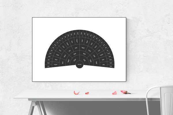 Customizable classic black fan genealogy family tree chart for your home--ready in minutes!