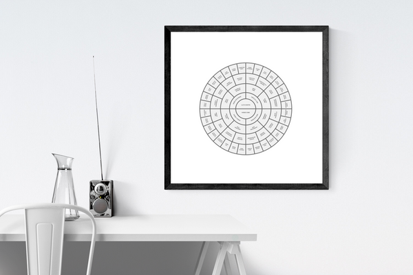 Customizable grey circle genealogy family tree chart for your home--ready in minutes!