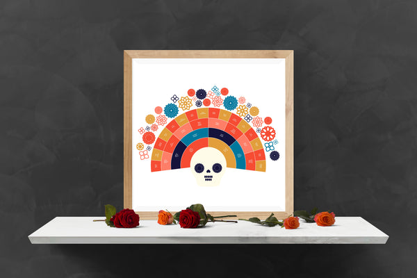 Dia de los Muertos Fall Sugar Skull Family Tree Chart