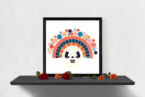 Dia de los Muertos Integrated Fall Sugar Skull Family Tree Chart