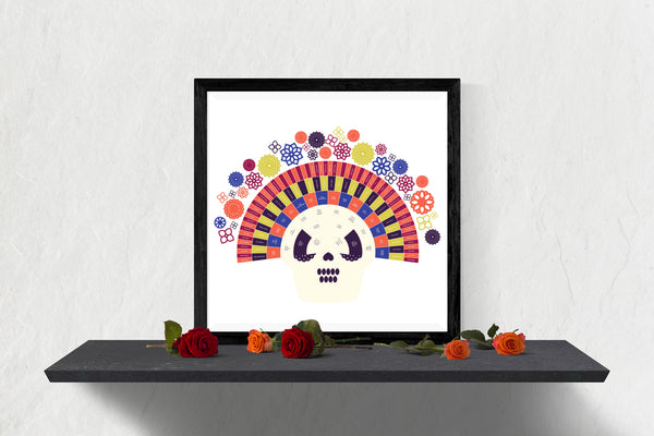 Dia de los Muertos Integrated Fiesta Sugar Skull Family Tree Chart